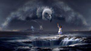 Un avvoltoio si aggira per il paese